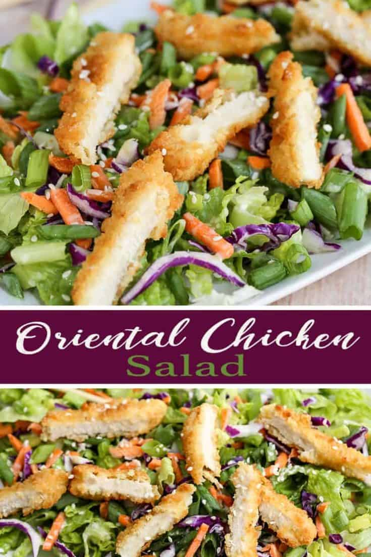 This Oriental Chicken Salad is an Applebee's copycat recipe. A tasty salad with a homemade asian inspired dressing - so fresh, delicious and good for you! #applebees #salad #recipe #easy #orientalchickensalad