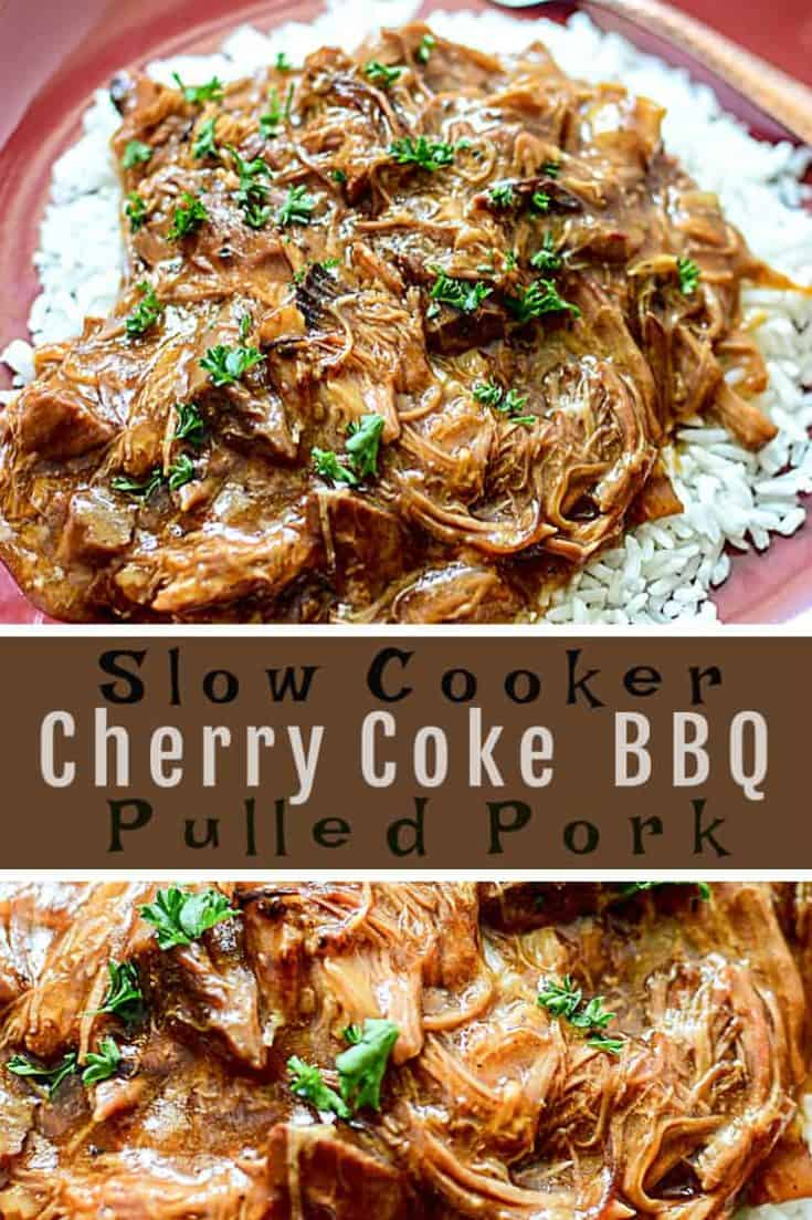 This easy 6-ingredient recipe for Slow Cooker Cherry Coke BBQ Pulled Pork has that smoky BBQ and sweet cola flavour that makes for a tender, juicy, and flavourful pulled pork. #slowcooker #pulledpork