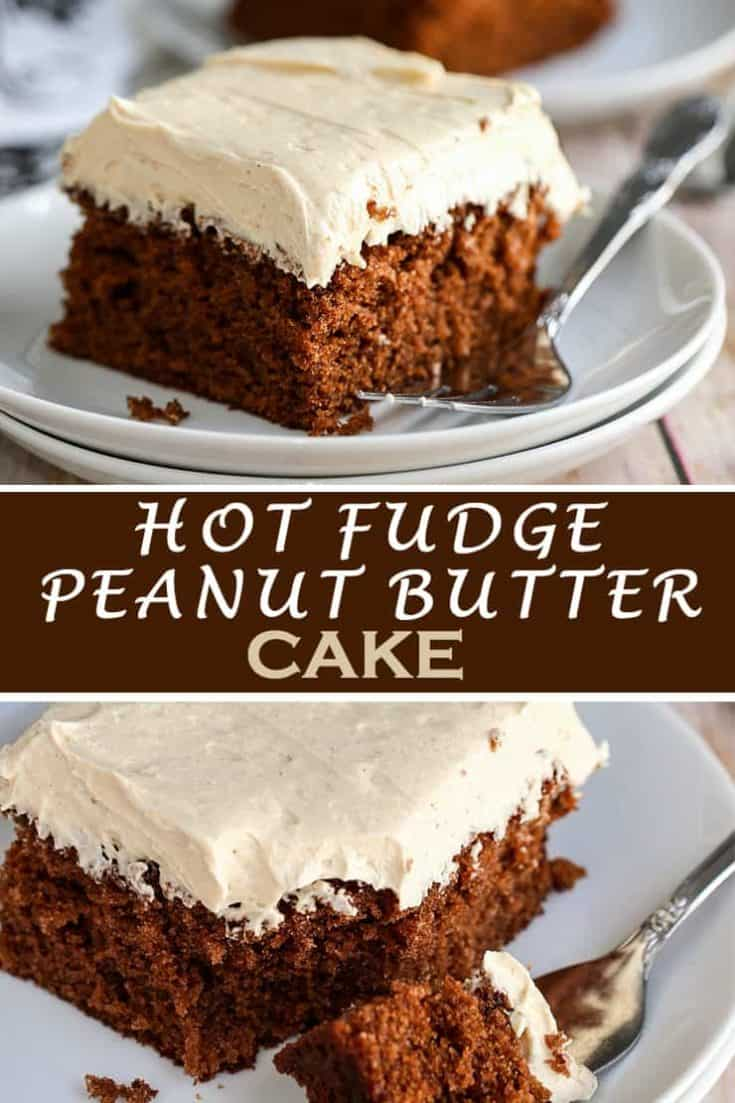 This Chocolate Fudge Cake with Peanut Butter Frosting is such a fantastic combination. It's rich, creamy, smooth, decadent, and to die for. #fudgecake #cake #recipe #sheetCake #dessert #hotfudge #peanutbutter