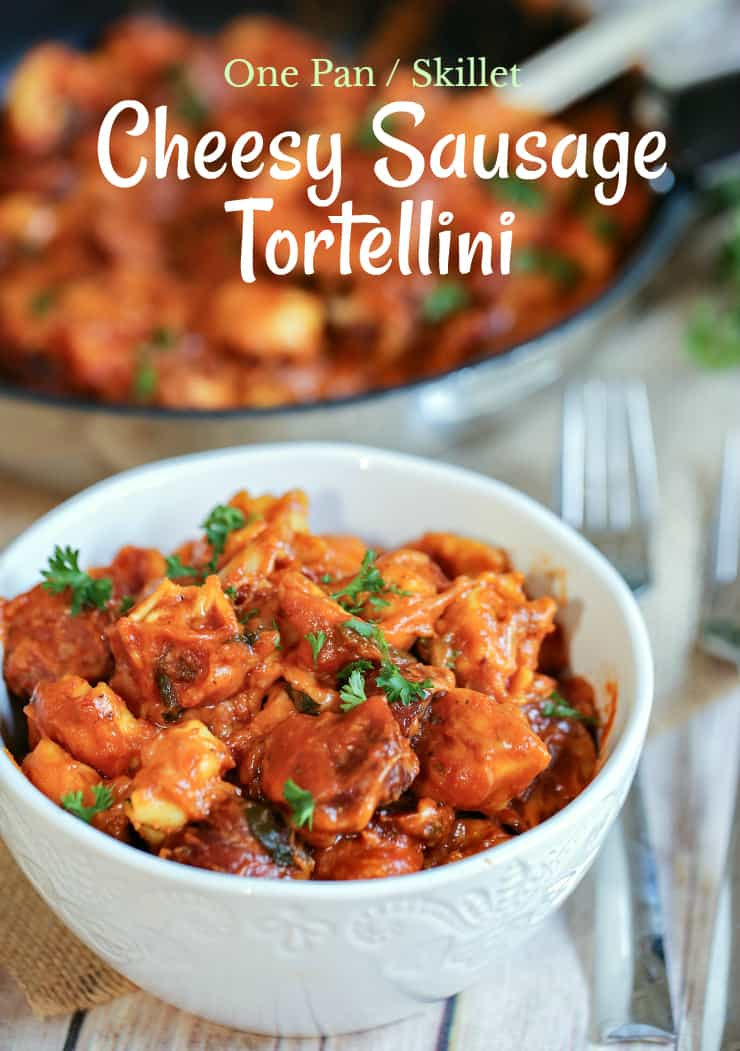 This One Pan Cheesy Sausage & Tortellini Skillet is a quick and delicious meal that uses just few ingredients. The whole family will love this easy Italian dish, which is so perfect for those busy weeknights.