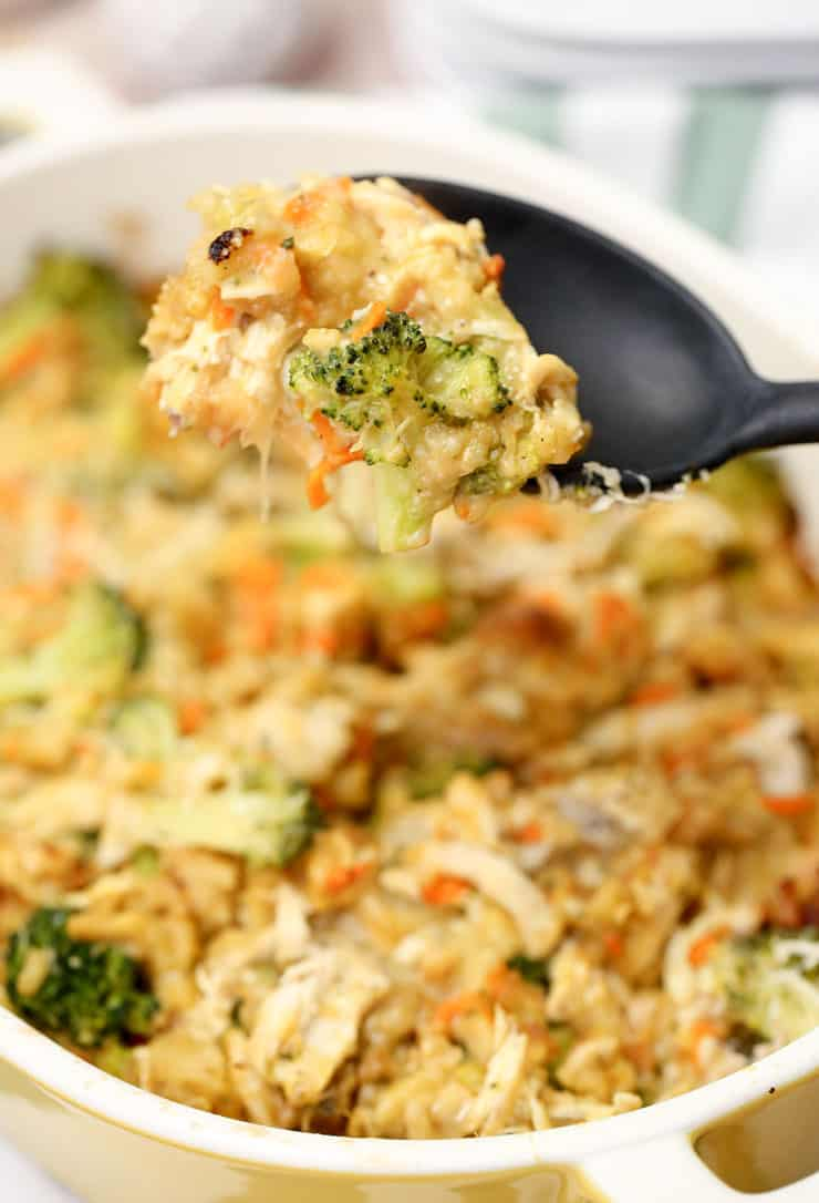 This Chicken Stuffing Bake recipe is a hassle-free 45 minute meal. With chicken, stuffing, broccoli and a few other simple ingredients - it's so comforting.