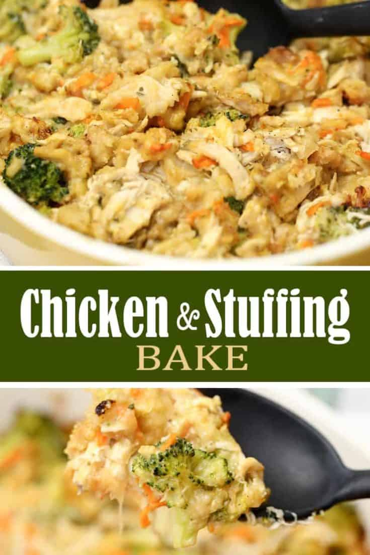 This CHICKEN STUFFING BAKE recipe is a hassle-free delicious 45 minute casserole dish. With chicken, stuffing, broccoli and a few other simple ingredients - it's so comforting and uses up those holiday leftovers. #chickenstuffing #stuffingrecipe #casserole #chickenbake