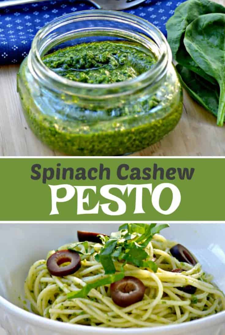 This easy homemade 5 minute pesto recipe tastes absolutely delicious. Simple Spinach Cashew Pesto is great served on pasta, potatoes, crostini or even as a dip! #pesto #pestorecipe #cashewpesto #spinachpesto