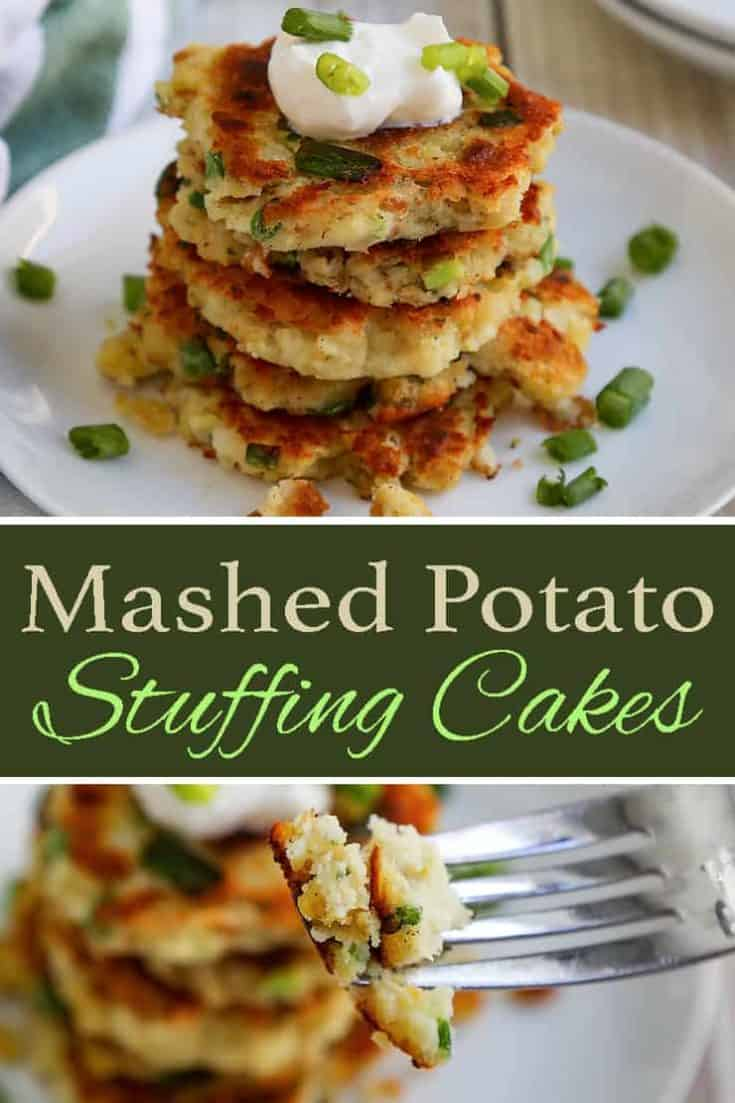 A delicious recipe for Mashed Potato Stuffing Cakes with mashed potatoes, stuffing and even turkey. Perfect for Thanksgiving leftovers, or Christmas dinner leftovers. #potatoes #stuffing #turkey #leftover