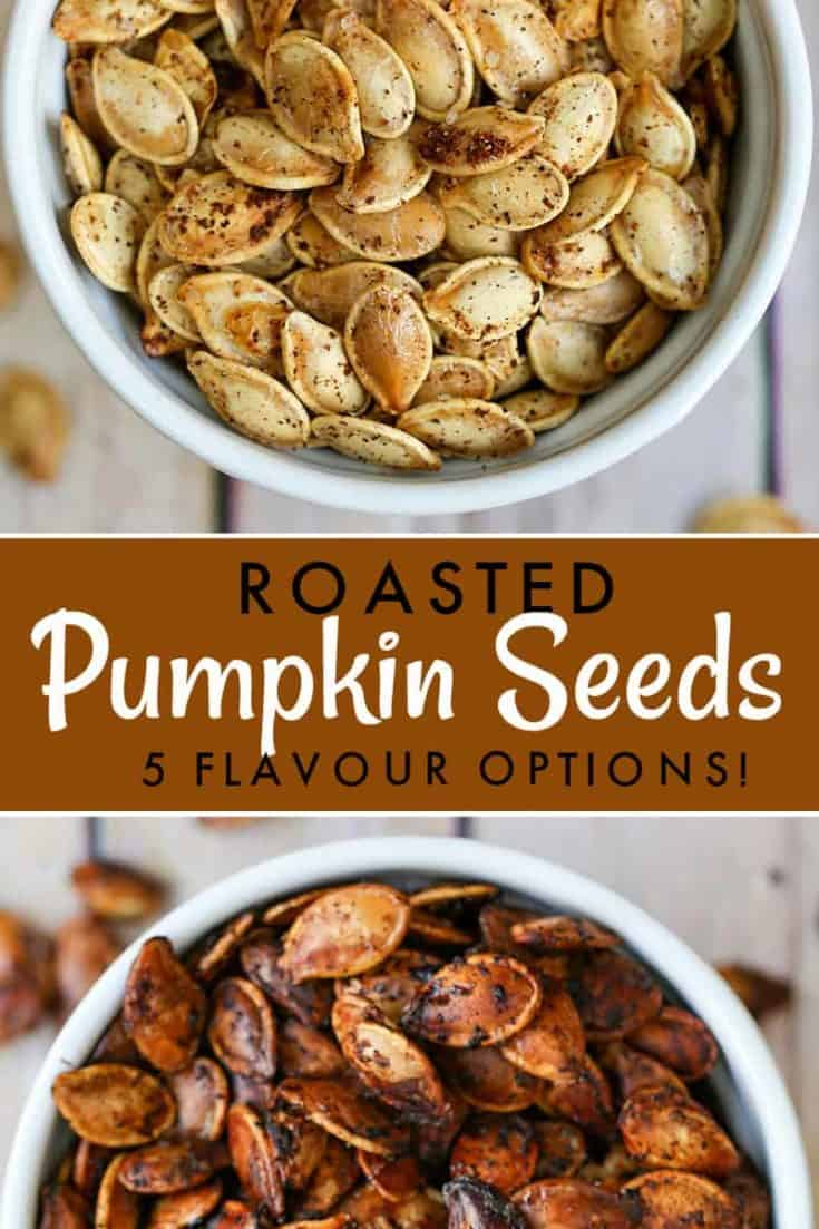 Our no-fail method for making the perfect roasted pumpkin seeds, a healthy and crunchy snack. Plus, five simple seasoning options you have to try. #pumpkinseeds #snacks #roastedpumpkinseeds