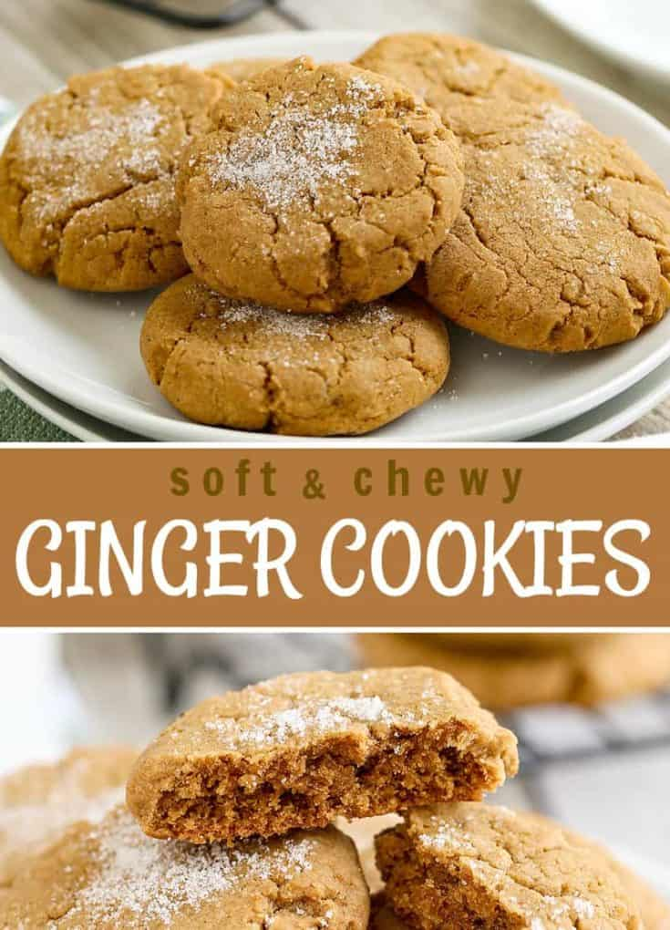 These Soft and Chewy Ginger Cookies (with VIDEO) includes molasses, cinnamon, and cloves. A super soft melt in your mouth inside with a crackle-look and sugar sprinkled. #gingercookie #cookie #ChristmasCookies