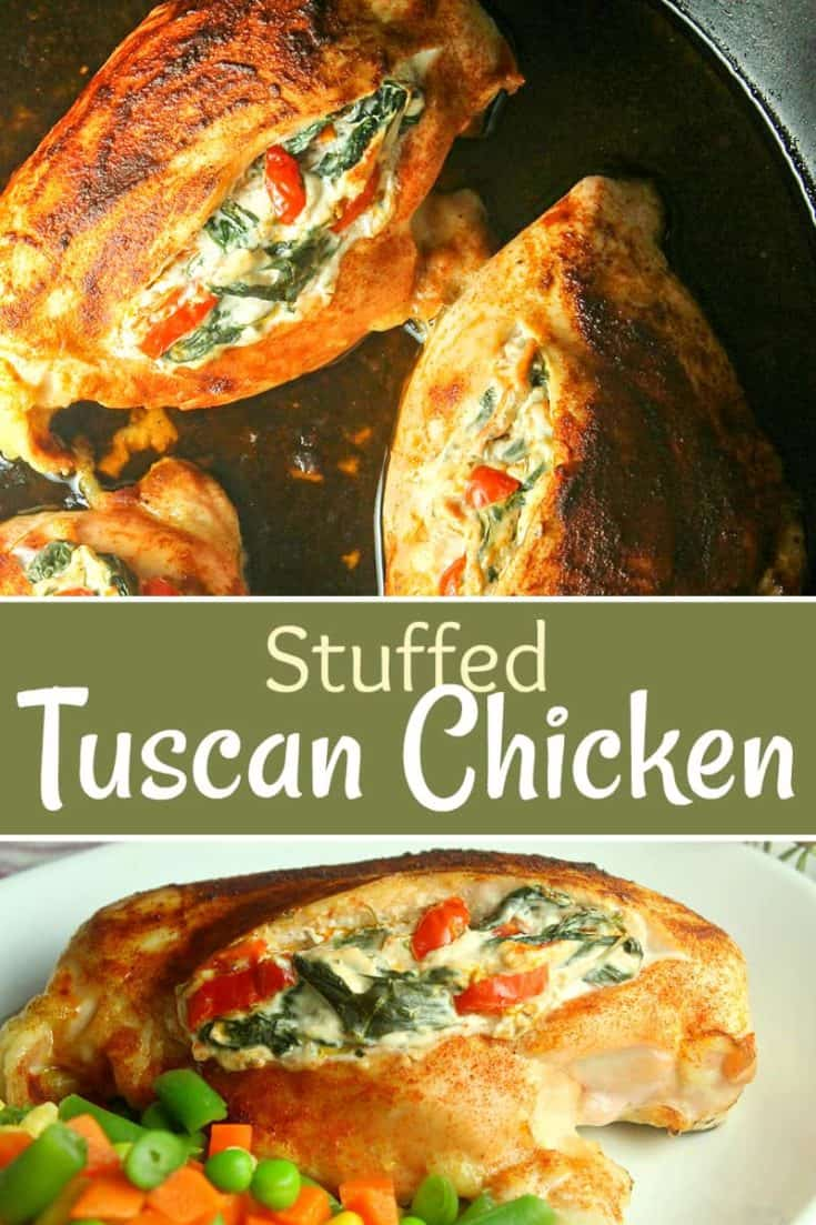 Stuffed Tuscan Chicken is tender and juicy, stuffed with sundried tomatoes, seasonings, cream cheese, spinach and cheeses. The flavours will blow you away! #tuscanchicken #stuffedchicken #chickenrecipes #easyrecipe