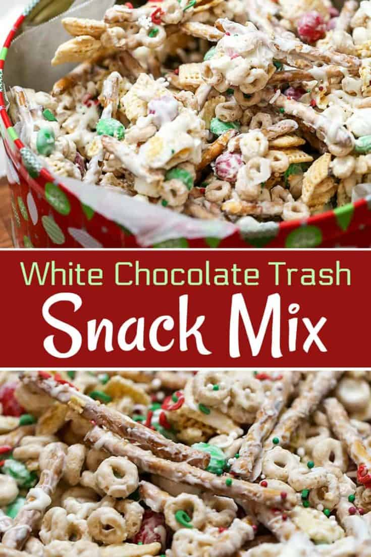 This White Chocolate Christmas Trash is a Snack Mix recipe with pretzels, cereal, candy tossed together with chocolate. Quick, easy and an addicting treat. #christmas #snackmix #christmasbaking