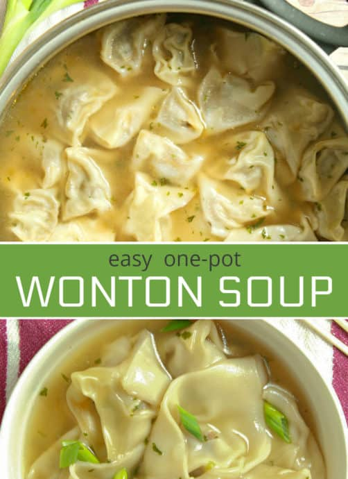 This homemade one-pot easy Wonton Soup is filled with a juicy pork and shrimp filling. It's a comforting soup recipe that will knock your socks off.