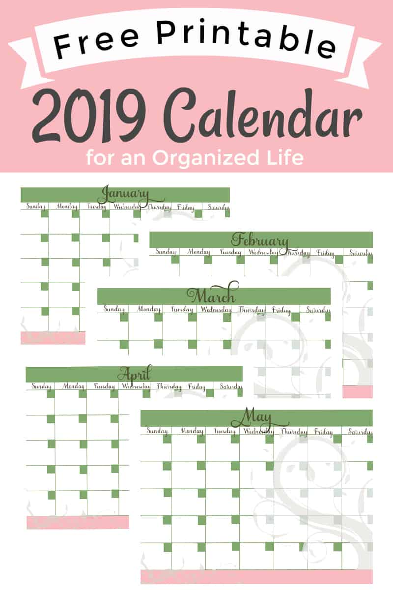 image about Calendars Free Printable called Totally free 2019 Printable Calendar for an Geared up Daily life
