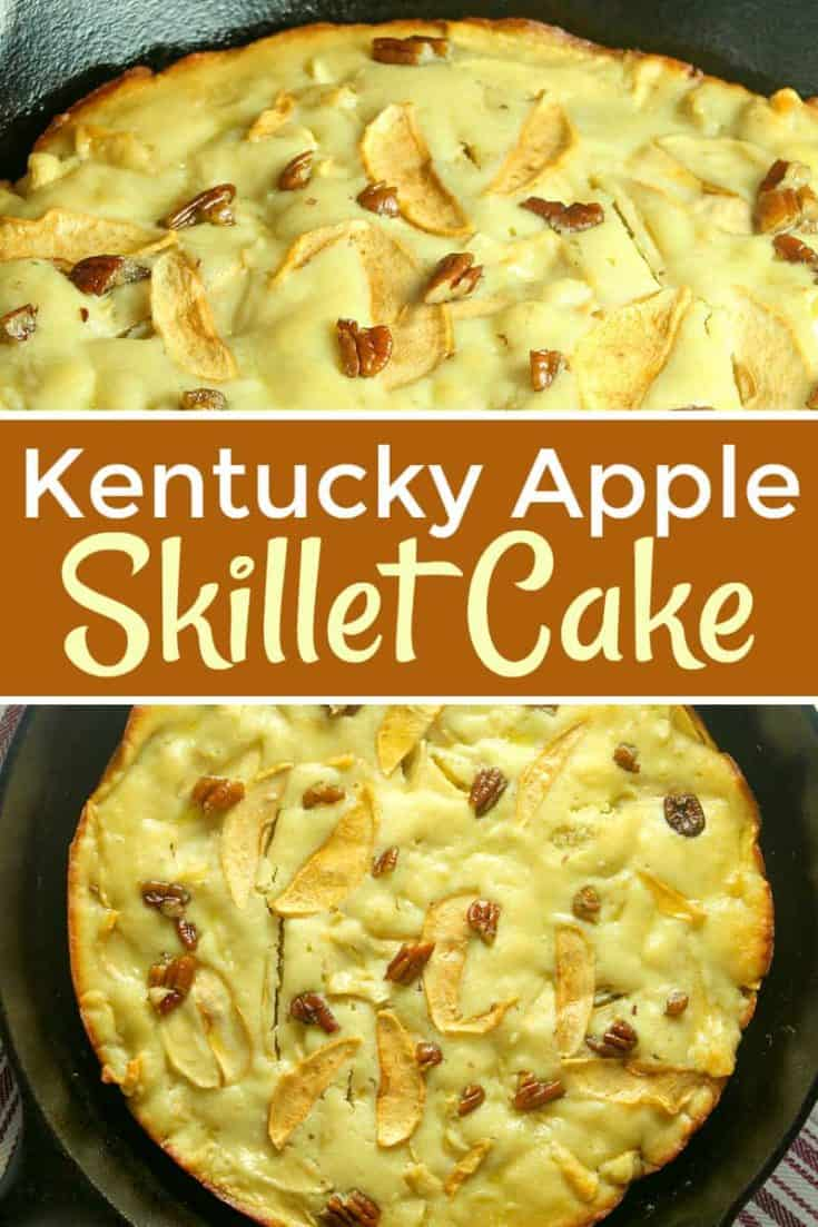 Kentucky Apple Skillet Cake is also a Bourbon Skillet Cake. With apples, pecans an that bourbon taste, this easy dessert skillet is country meets french! #kentuckyapplecake #kentuckycake #skilletcake #cake #dessert