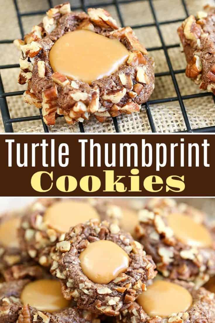 These homemade Turtle Cookies are just like the chocolates except soft and chewy. With a caramel thumbprint center, you can't beat this nutty chocolate caramel combination. #turtlecookies #thumbprintcookies #cookierecipes