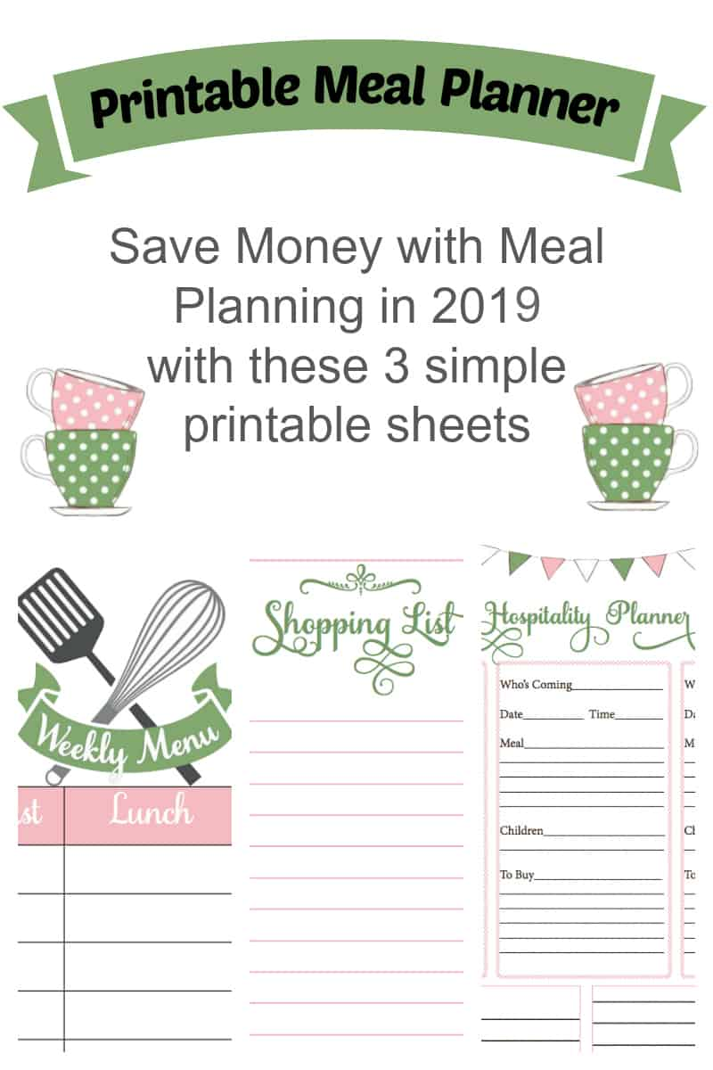 graphic regarding Printable Meal Planner known as Printable Dinner Planner for 2019