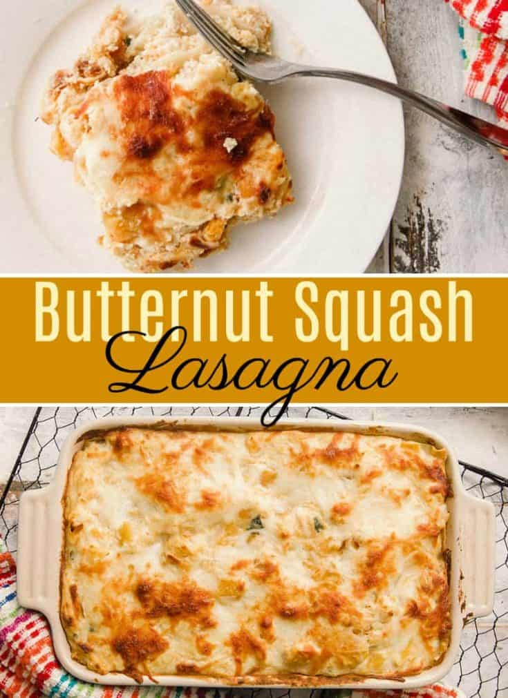 This Butternut Squash Lasagna is a vegetarian version of classic Italian lasagna. It includes tender lasagna noodles cooked in a creamy butternut squash sauce with sage and ricotta cheese. #butternutsquash #lasagna #butternutsquashrecipes