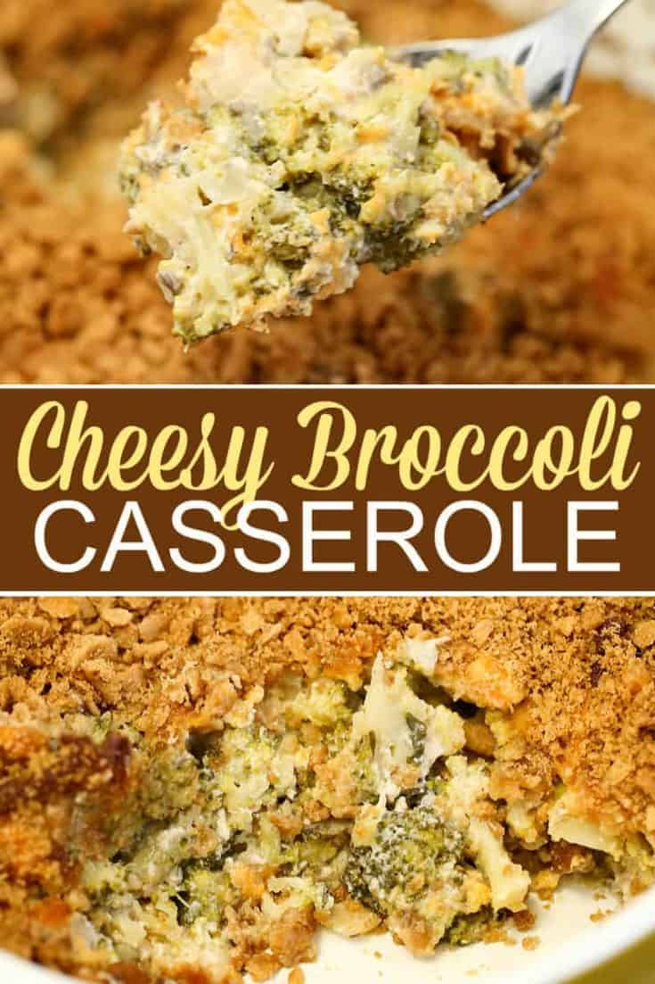 This Broccoli Cheese Casserole has tender broccoli smothered in a rich and creamy cheddar cheese sauce, and is topped with crushed butter crackers. This is one side dish that is sure to please the masses! #broccolicasserole #casserole #sidedish