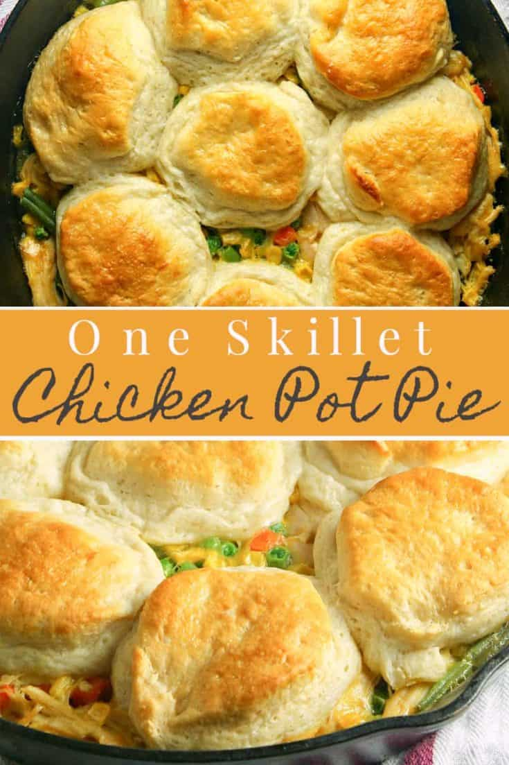 This one pan Skillet Chicken Pot Pie makes your favourite comfort food even easier thanks to one-dish cooking. Simple enough to make on the busiest of weeknights, this take less than 30 minutes start to finish. #comfortfood #easychickenrecipe #potpie