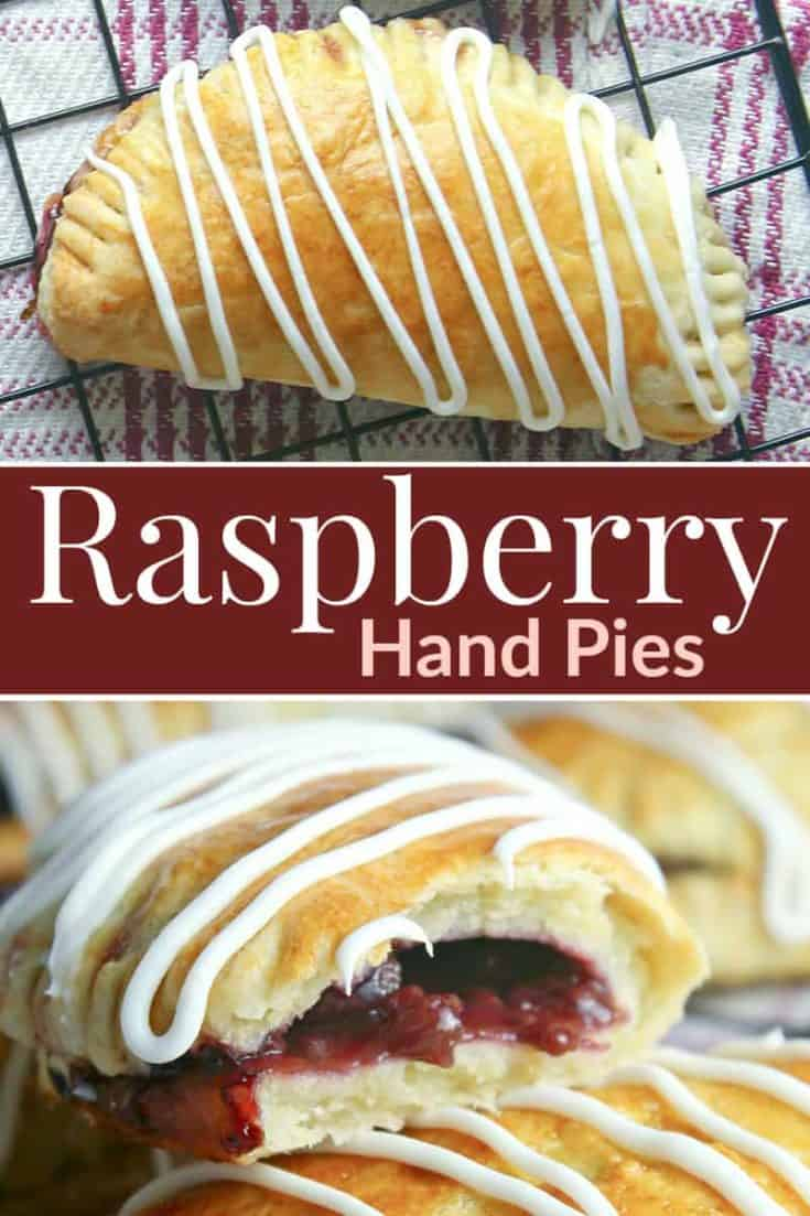These easy Raspberry Hand Pies are a sweet mouthwatering raspberry filling with a flaky butter crust and glazed to perfection. Ready in no time, they are the perfect simple sweet treat. #easydessert #handpies #pies