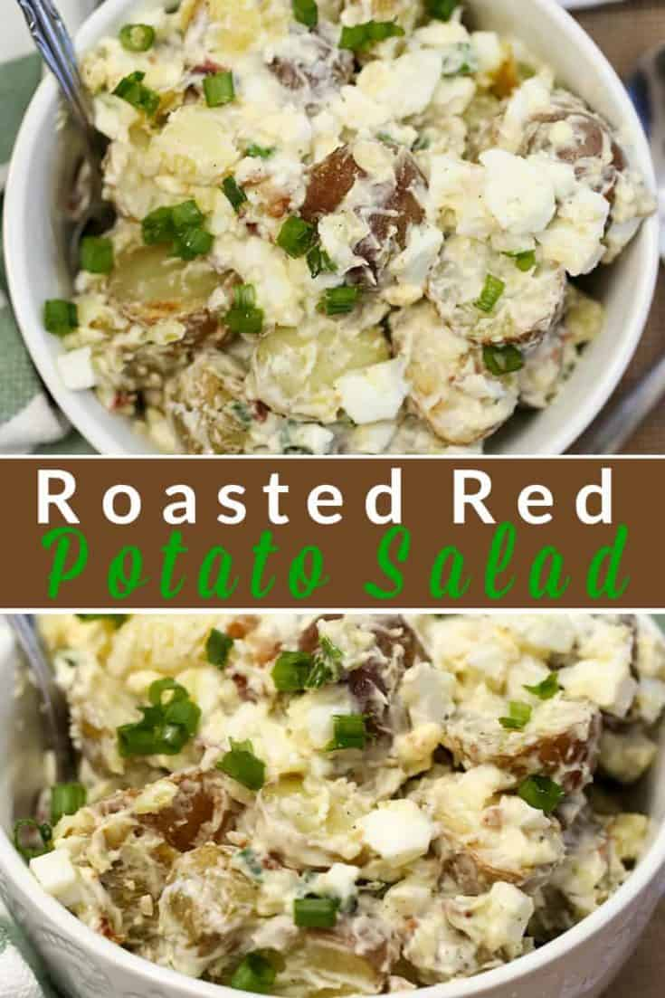 This Roasted Red Potato Salad recipe with egg, bacon and green onions makes it a favourite go-to for a quick and delicious side dish all year long. #redpotato #potatosalad #saladrecipe