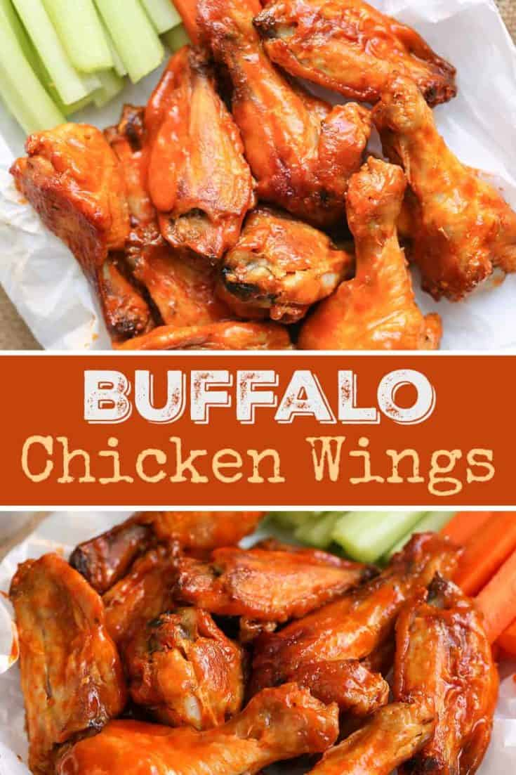 These crispy Buffalo Chicken Wings are baked, not fried, using just two ingredients for the buffalo sauce. Restaurant-style delicious appetizer wings! #buffalowings #chickenwings #crispywings #appetizerrecipe #buffalochickenwings #gameday