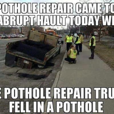 funny pothole meme