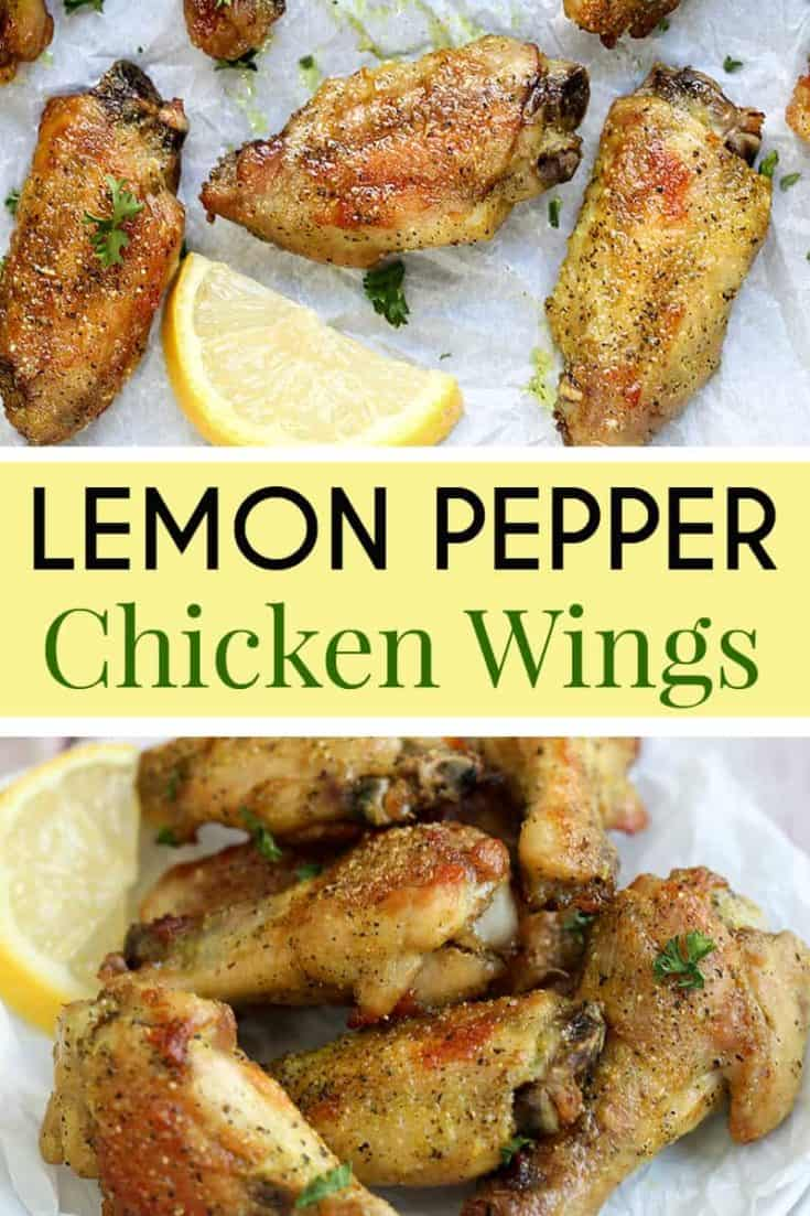 These crispy and delicious baked Lemon Pepper Chicken Wings takes just 4 ingredients. Perfect for dinner, game day, or to satisfy a wing craving. #chickenwings #wingrecipe