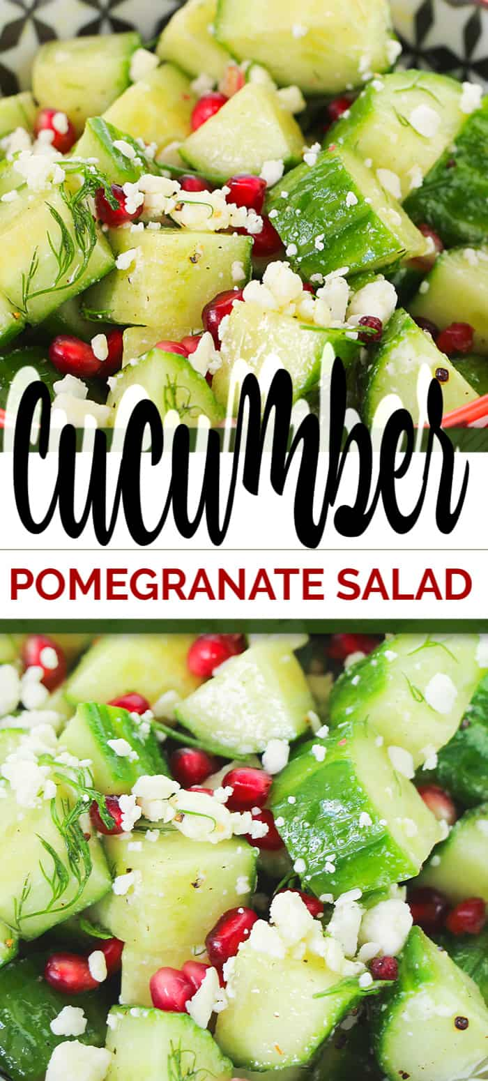 Cucumbers and dill = healthy + delicious! Add in some pomegranates and you have a beautiful fresh Cucumber Pomegranate Salad. This side recipe is bound to be a hit in your house! #heathysalad #cucumbersalad #pomegranatesalad #saladrecipe #summersalad #christmassalad