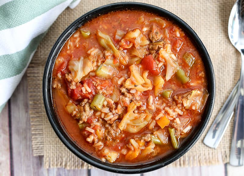 cabbage roll soup closeup