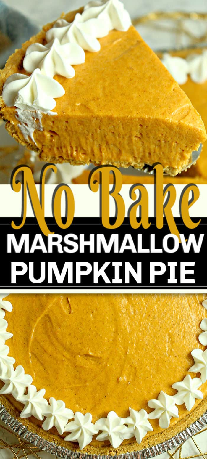 Looking for a No Bake Pumpkin Pie? No Bake Marshmallow Pumpkin Pie is a sweet and creamy twist to a classic pumpkin dessert. Using a store bought crust, it's a quick and easy pumpkin pie recipe. #pumpkinpie #nobake #nobakepie #marshmallowpumpkin #pumpkin