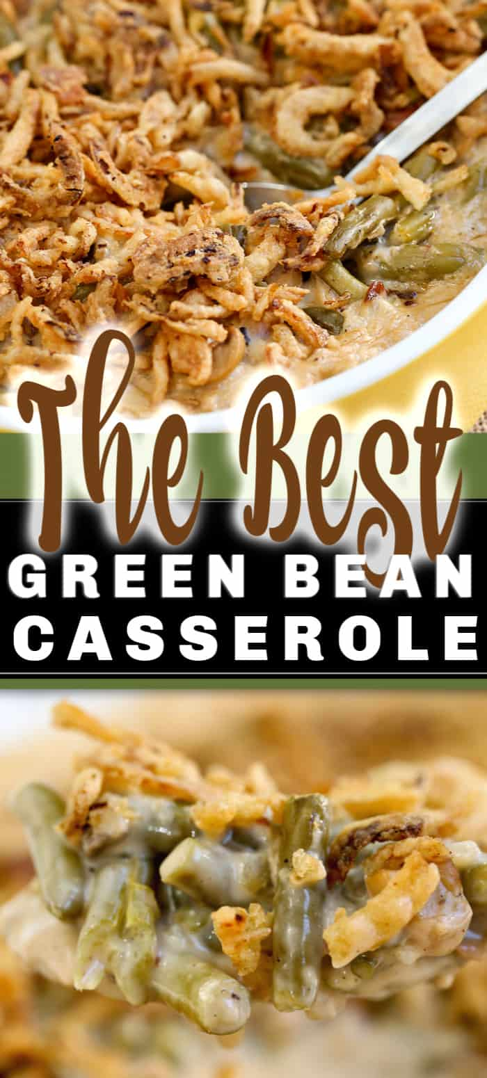 The Best Green Bean Casserole recipe is this one right here. A classic with a few swaps, tender green beans served in a creamy sauce with bacon, cheese and crispy onions. Hot, bubbly, delicious and with a crunchy topping. #greenbeancasserole #greenbeanrecipe #casserolerecipe #greenbeancasserole #casserole #sidedish