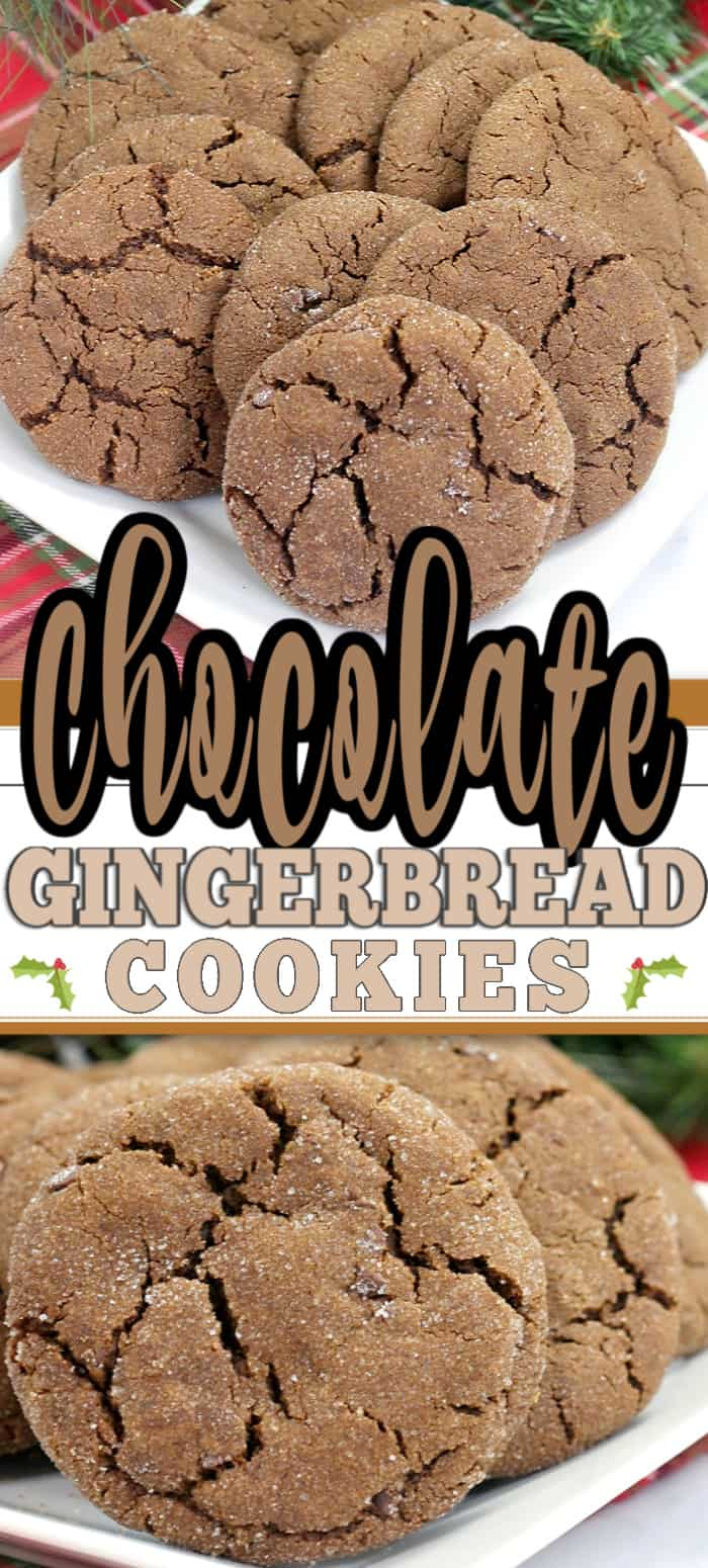 These Chewy Chocolate Gingerbread Cookies are delicious Christmas cookies which combine chocolate with gingerbread to make the perfect chewy and soft holiday cookie. With a crinkled outside and a delicious taste, these are also great for baking exchanges. #chocolate #cookies #gingerbread #cookierecipe #gingerbreadcookies #chocolatecookies #christmascookie