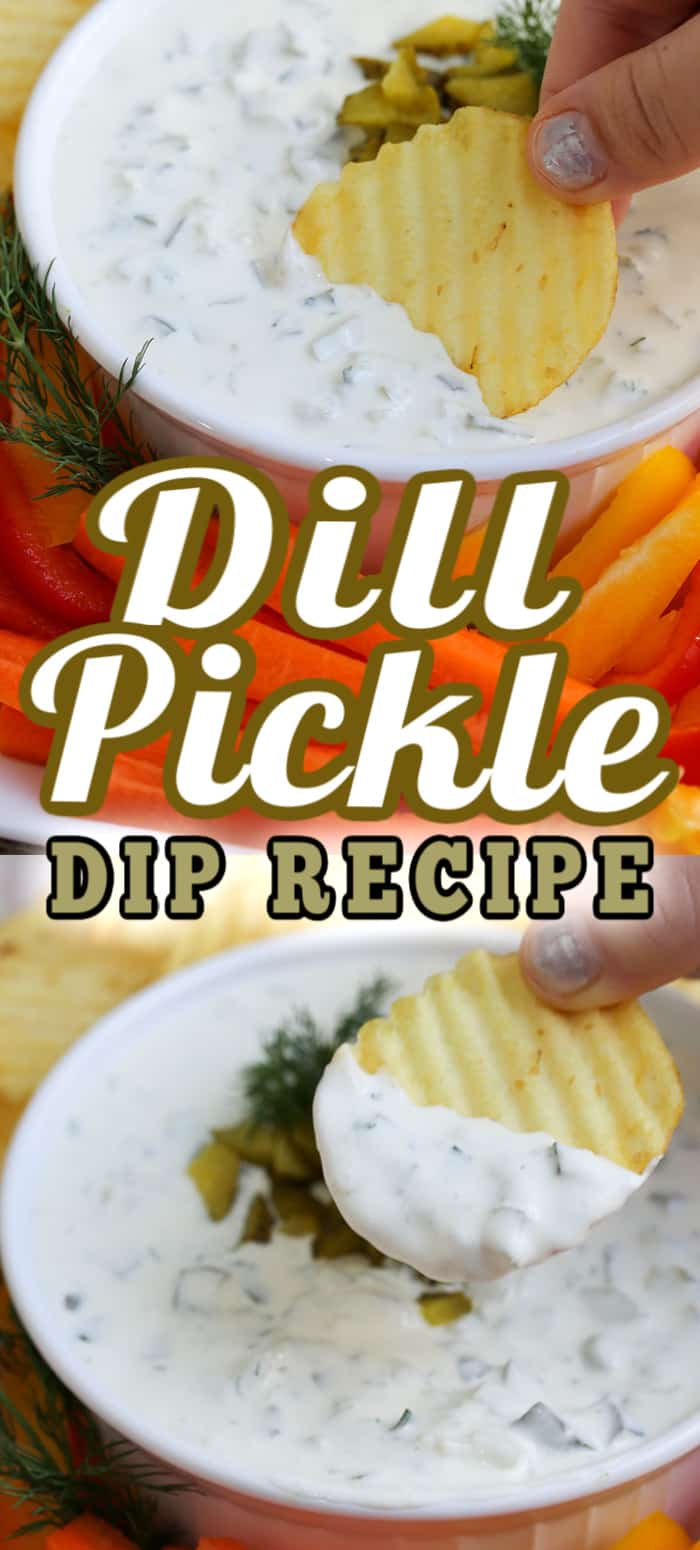 This Dill Pickle Dip recipe takes just 5 minutes to make to make, This creamy, tangy dip is served with potato chips, vegetables or bread! #dillpickledip #pickledip #appetizerdip #diprecipe