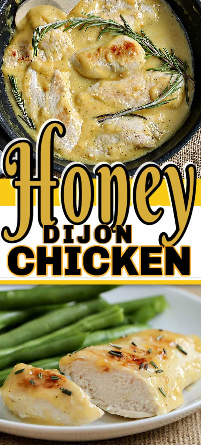 This Honey Dijon Garlic Chicken is a quick one-pan stovetop dinner. This easy chicken breast recipe results in the best flavor thanks to honey, garlic and dijon mustard. #honeydijongarlicchicken #chickendinner #chickenrecipes #stovetopchicken
