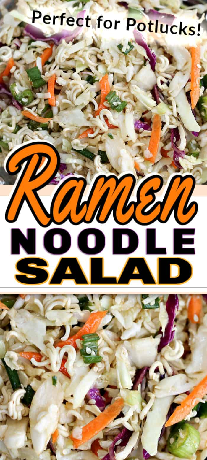 This tangy and crunchy Ramen Noodle Salad is quick, inexpensive, and super delicious. It's ideal for feeding a crowd as a side salad, or the hit of a potluck! #ramennoodlesalad #ramensalad #ramennoodlerecipes