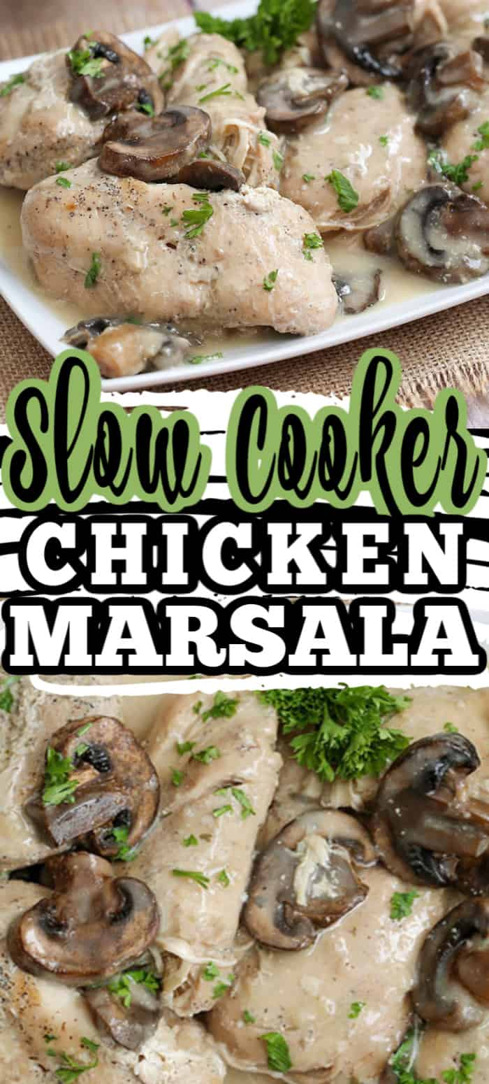 With a 10 minute prep, this easy and delicious Slow Cooker Chicken Marsala includes mushrooms and garlic in a savory marsala sauce. #chickenmarsala #slowcookerrecipe #slowcookerchicken