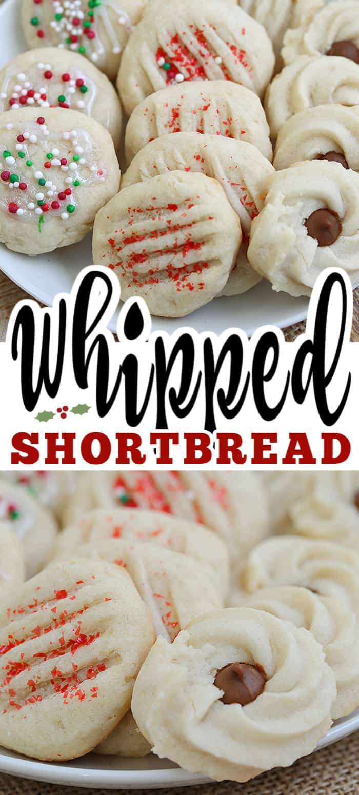 Whipped shortbread cookies are light as air with a delicious buttery flavor. These soft, melt in your mouth cookies are perfect for the holidays. #whippedshortbread #shortbread #shortbreadcookies #christmascookie