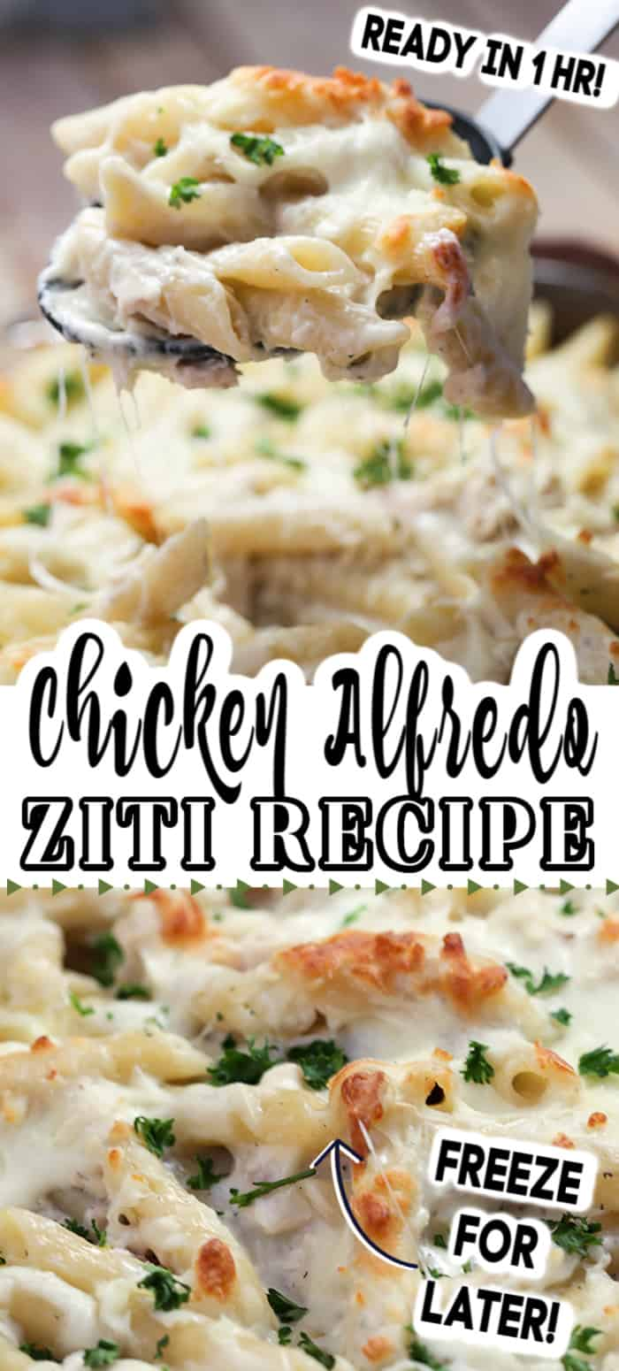 This Chicken Alfredo Baked Ziti is so easy to make. With tender chicken and pasta in a creamy, cheesy homemade Alfredo sauce, it's the best weeknight meal. #chickenalfredo #bakedziti #zitirecipe #pasta