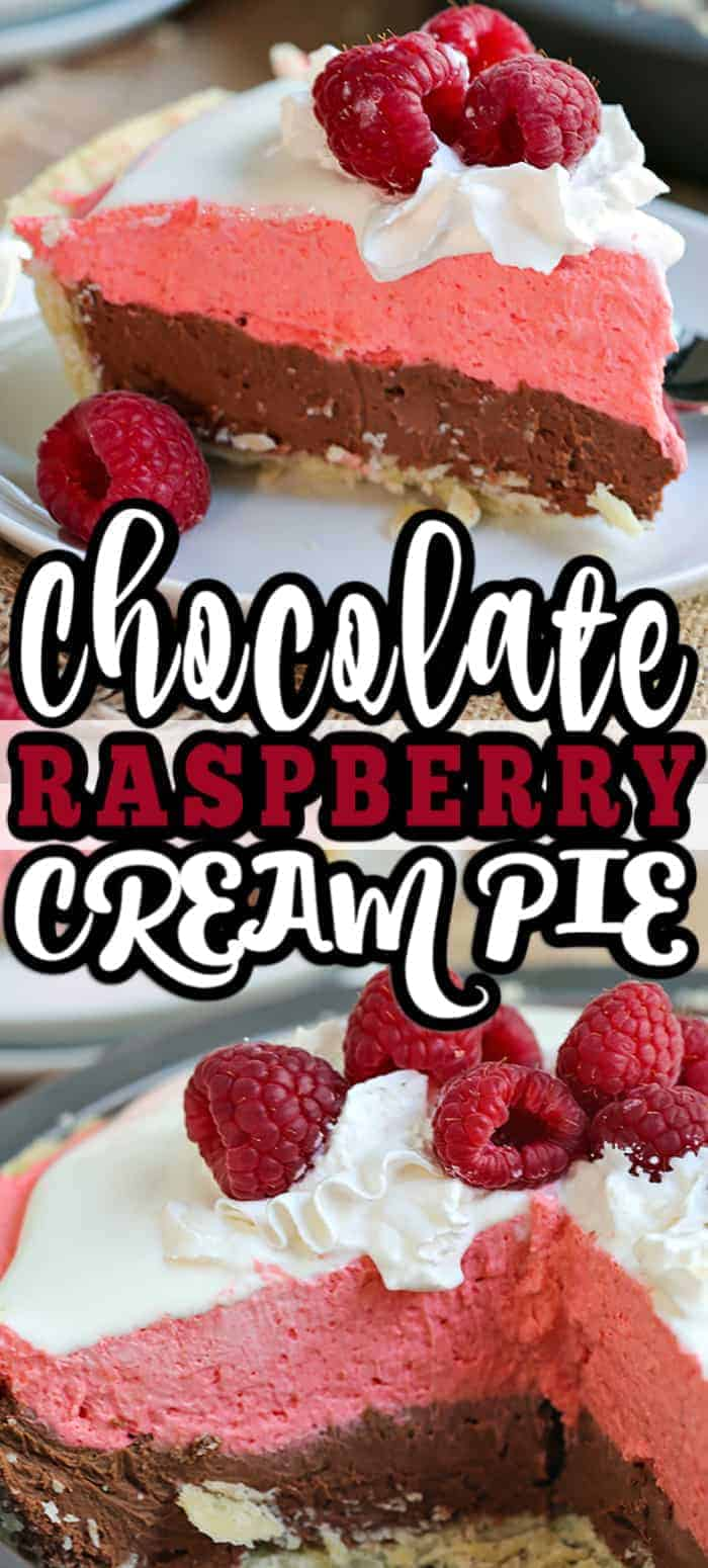 This Chocolate Raspberry Cream Pie features chocolate and raspberry layers that taste like cheesecake. Topped with whipped cream and fresh raspberries, this is one dessert recipe that stands out! #chocolateraspberrydessert #dessertrecipe #creampie #dessert