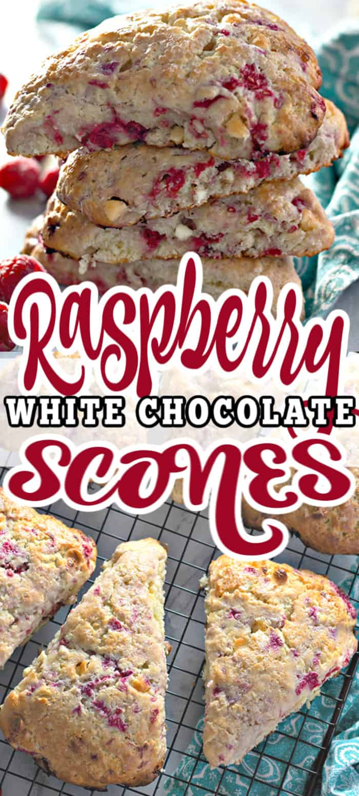 Moist, flaky, and bursting with flavour - these RASPBERRY WHITE CHOCOLATE SCONES are perfect breakfast or brunch! Best served with loved ones and plenty of coffee. #scones #breakfast #brunch