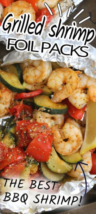 bbq shrimp and vegetable foil packages for cooking