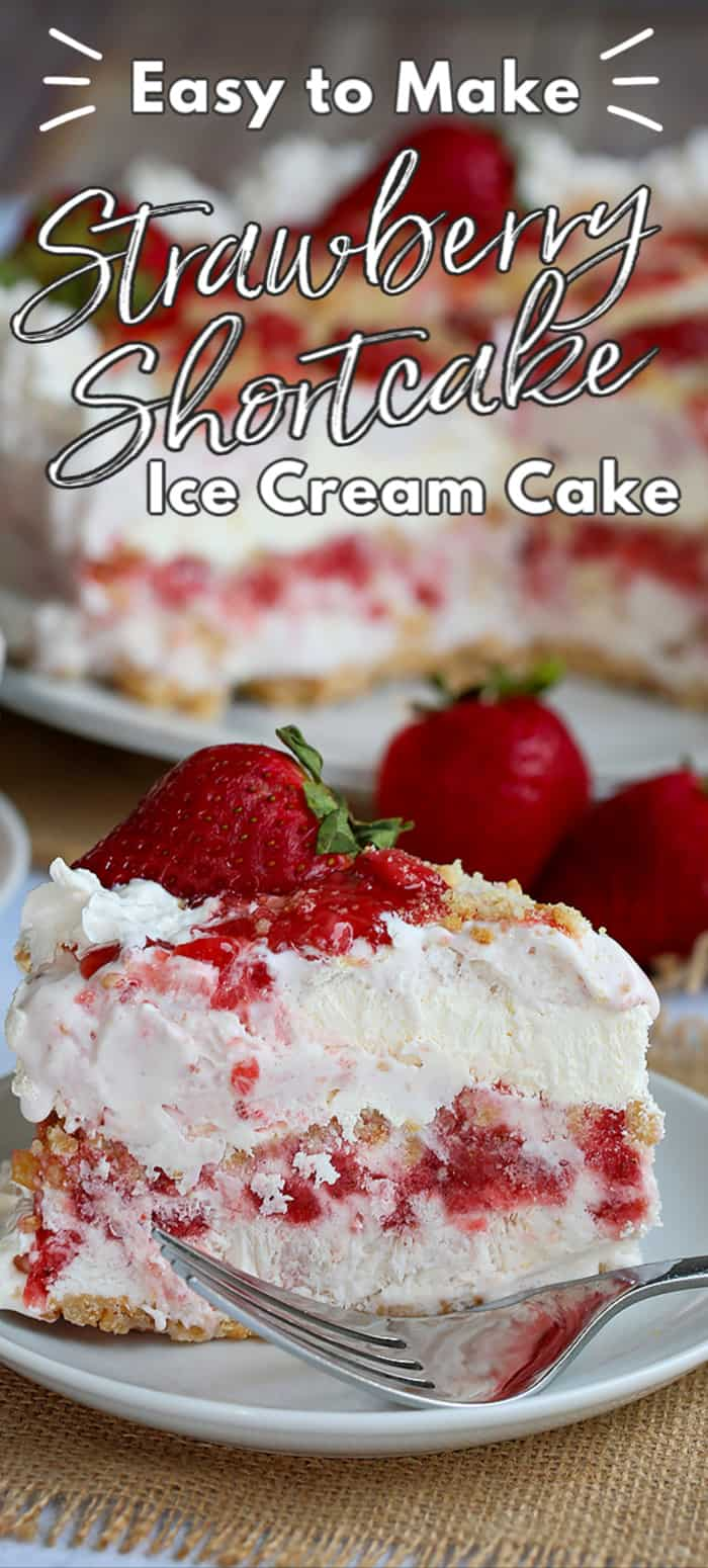 a slice of strawberry ice cream cake with text