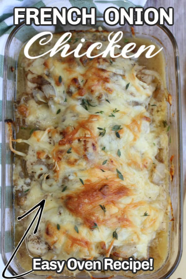 chicken onions and cheese in a casserole dish with text