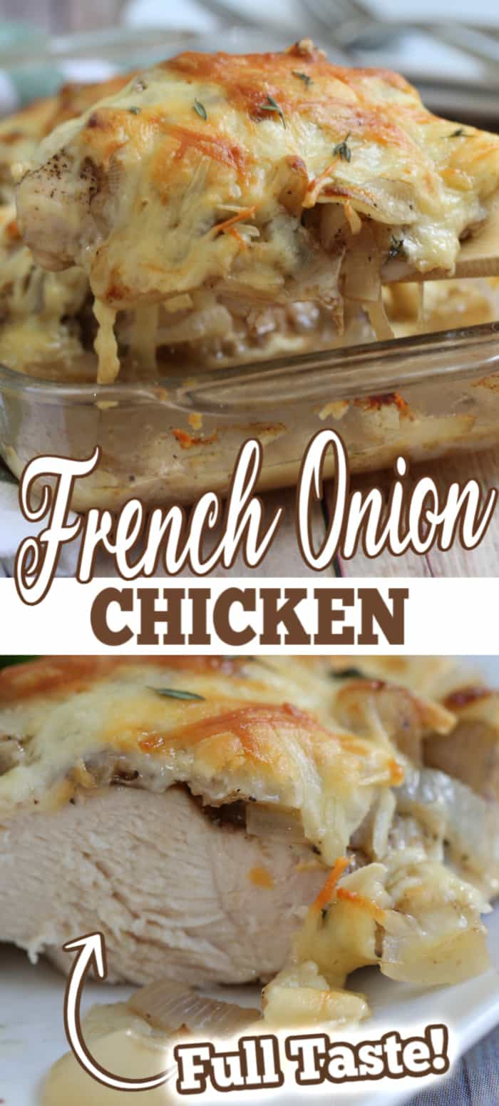 french onion chicken in dishes with text overlay