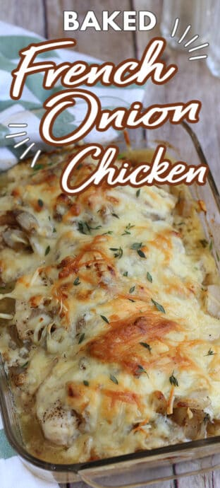 chicken recipe is a dish on a table with text