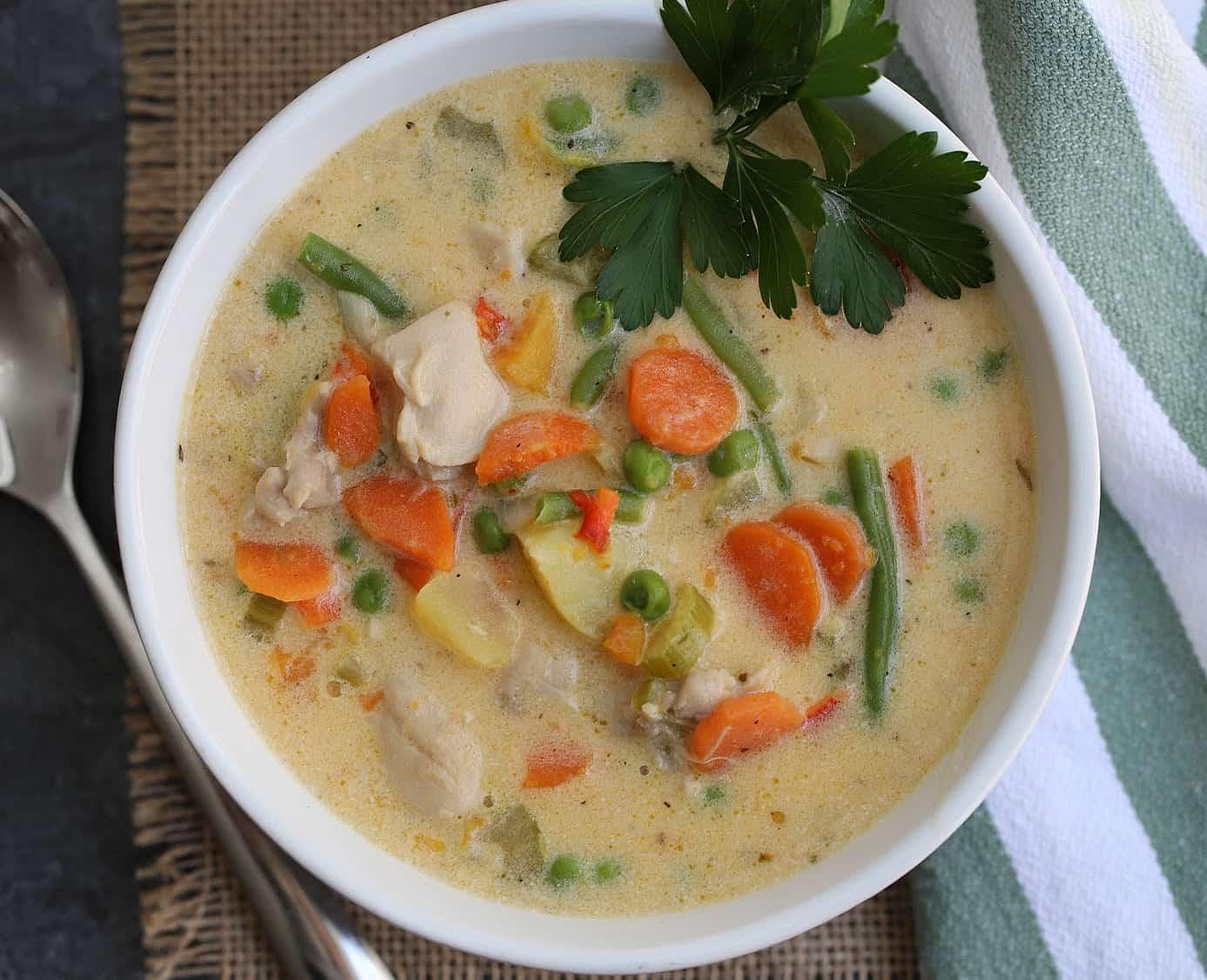 chicken stew in a white bowl