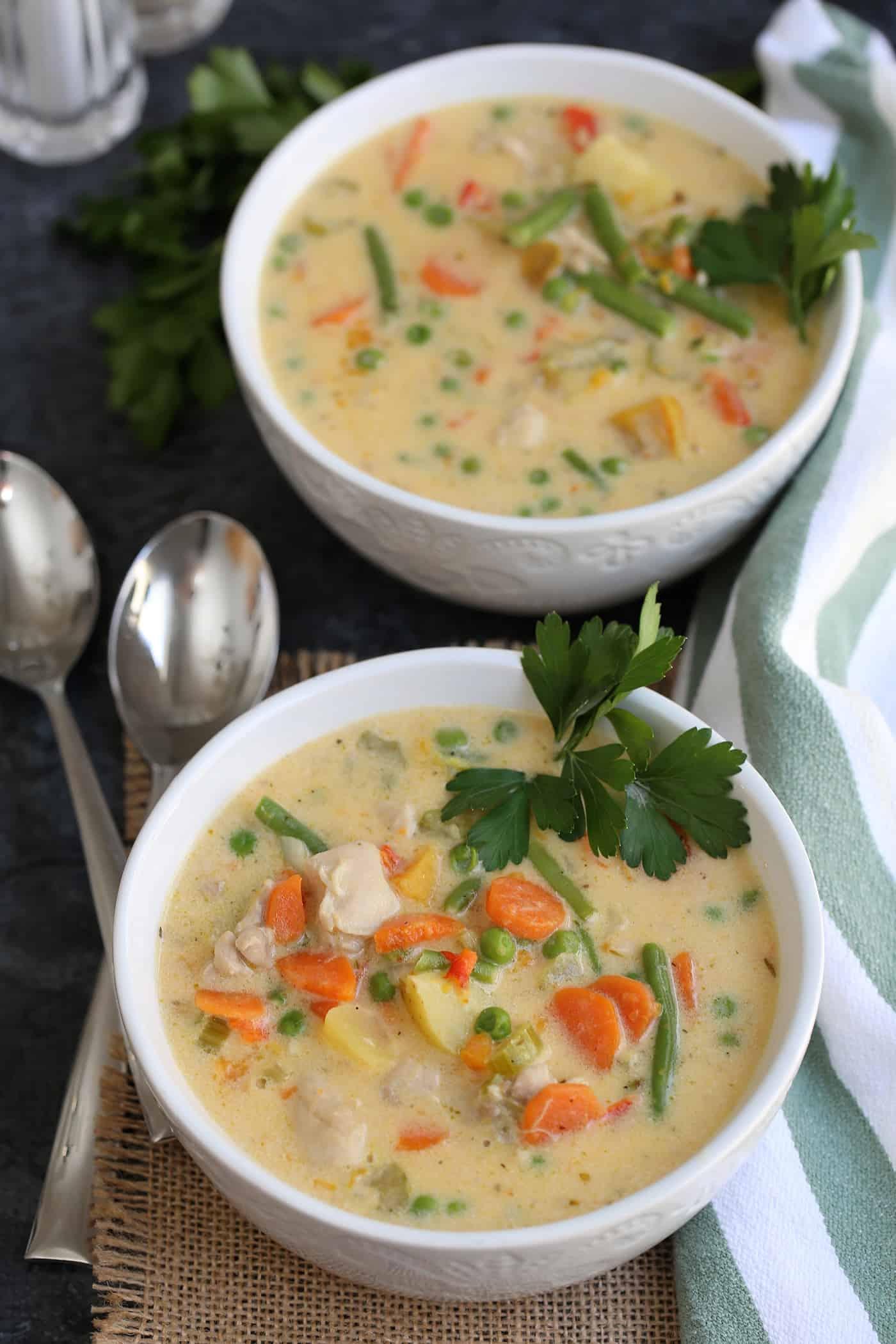 creamy chicken stew in bowls