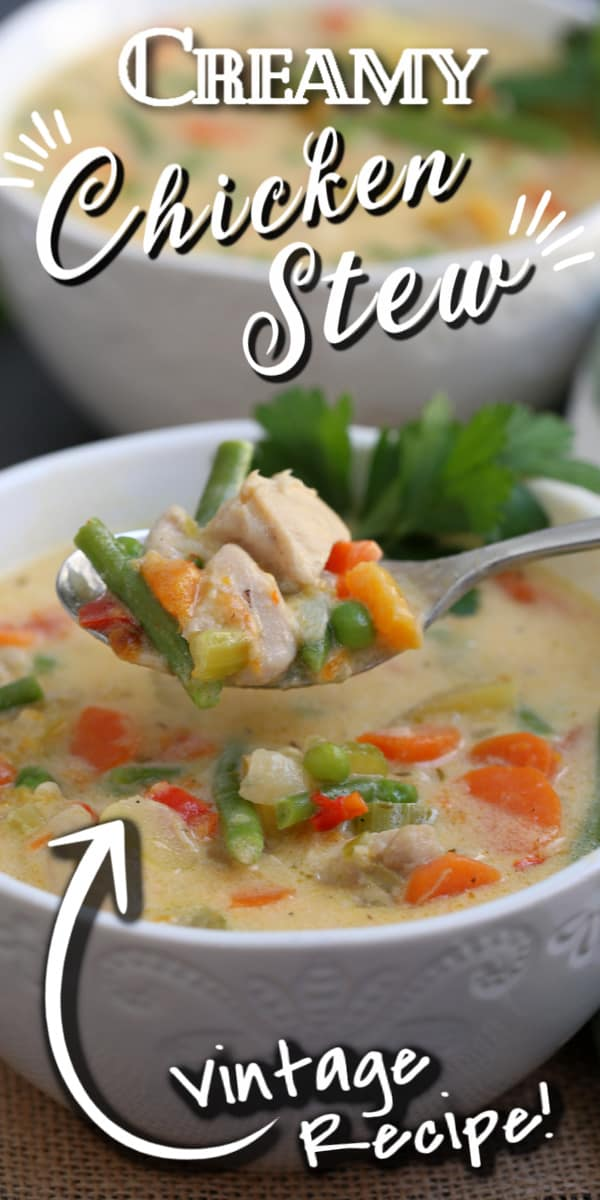 creamy chicken stew with text