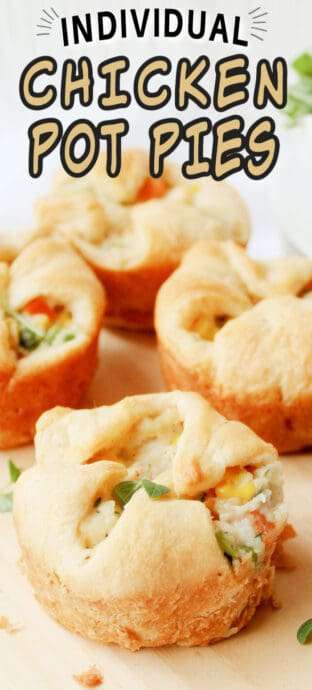 mini chicken pot pies with text