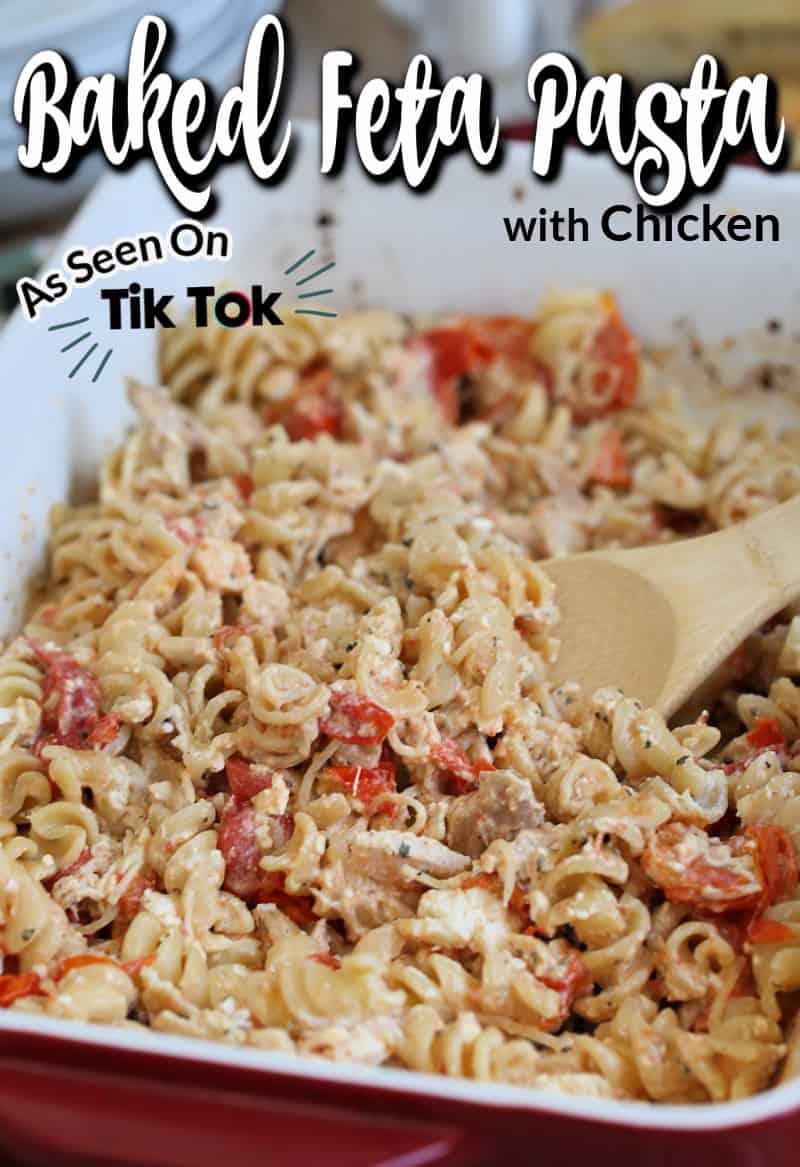 baked feta pasta from tiktok with text