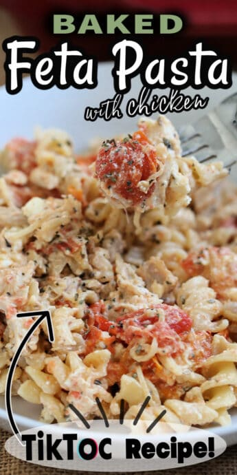 baked feta pasta with chicken recipe with text