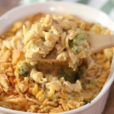 chicken noodle casserole in a baking dish
